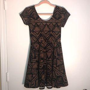 Planet Gold brown,black Aztec pattern skater dress